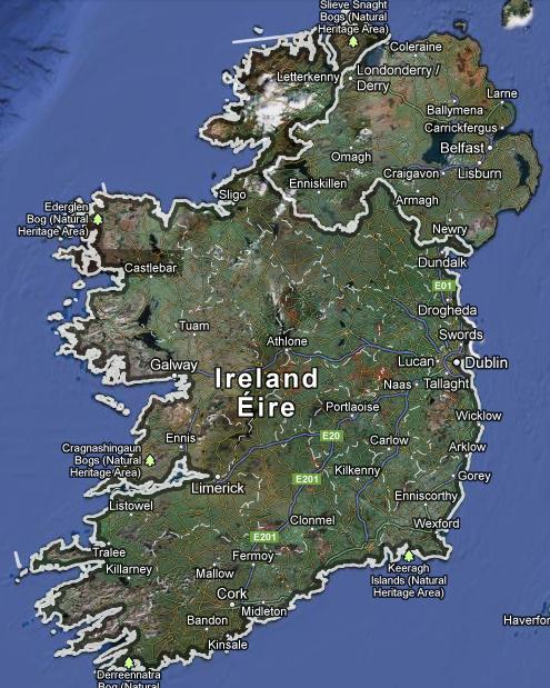 Karta över Irland